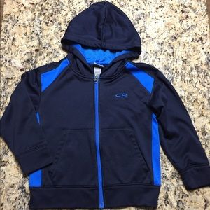 Champion Zippered Hoodie Fleece Lined Black Blue